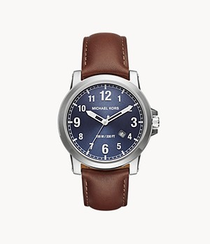 Michael Kors Men's Paxton Three-Hand Brown Leather Watch