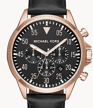 Michael Kors Men's Gage Chronograph Black Leather Watch