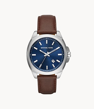 Michael Kors Men's Bryson Three-Hand Date Brown Leather Watch