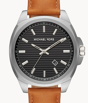 Michael Kors Men's Bryson Three-Hand Brown Leather Watch