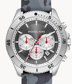 Michael Kors Men's Cortlandt Chronograph Camo Silicone Watch