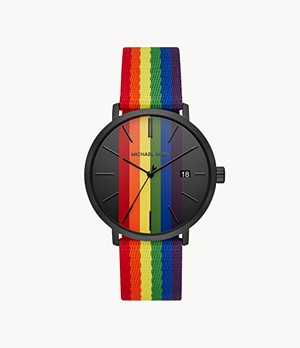 Michael Kors Men's Blake Multifunction Rainbow Nylon Watch