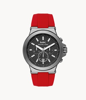 Michael Kors Men's Dylan Chronograph Matte Red Silicone Watch