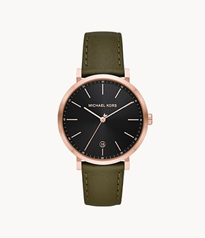 Michael Kors Men's Irving Three-Hand Date Green Leather Watch