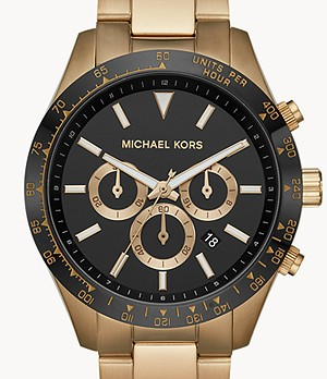 Montre chronographe en acier inoxydable ton or antique Layton Michael Kors
