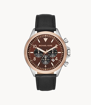 Michael Kors Gage Chronograph Black Leather Watch