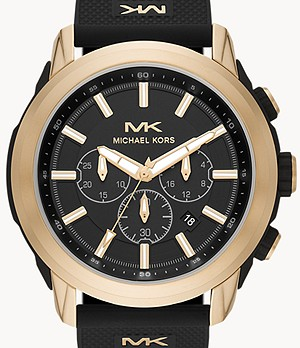 Michael Kors Kyle Chronograph Black Silicone Watch