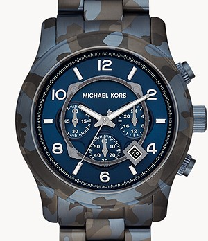 Michael Kors Runway Chronograph Blue Camo IP Steel Watch