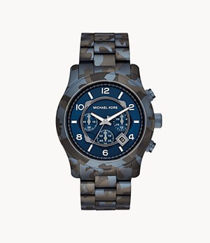 Michael Kors Runway Chronograph Blue Camo IP Stainless Steel Watch