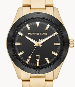 Michael Kors Layton Three-Hand Gold-Tone Stainless Steel Watch