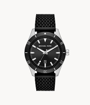 Michael Kors Layton Three - Hand Black Silicone Mesh Watch