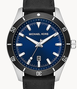 Michael Kors Layton Three-Hand Date Black Leather Watch