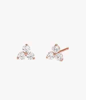Michael Kors Women's 14k Rose Gold-plated Sterling Silver Cz Cluster Studs