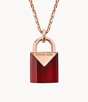 Michael Kors Women's Semi-precious 14k Rose Gold-plated Sterling Silver Padlock Necklace
