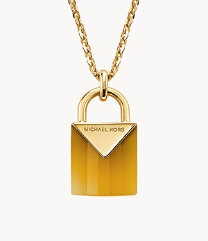 Michael Kors Women's Semi-precious 14k Gold-plated Sterling Silver Padlock Necklace