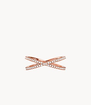 Michael Kors Women's 14k Rose Gold-plated Sterling Silver Pave Nesting Ring Insert