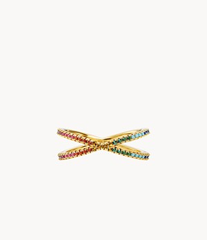 Michael Kors 14k Gold-Plated Sterling Silver Rainbow Pave Nesting Ring