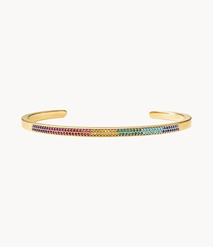 Michael Kors 14k Gold-Plated Sterling Silver Rainbow Pave Nesting Bracelet