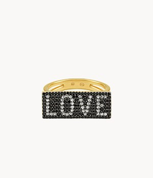 "Michael Kors 14k Gold-Plated Sterling Silver ""Love"" Plaque Ring"