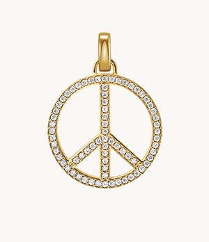 Michael Kors 14k Gold-Plated Sterling Silver Oversized Pave Peace Charm