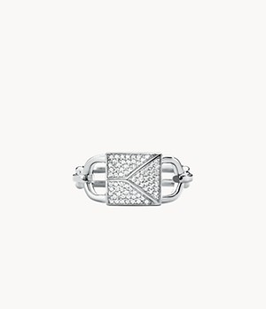 Michael Kors Mercer Link Sterling Silver Pave Lock Statement Ring