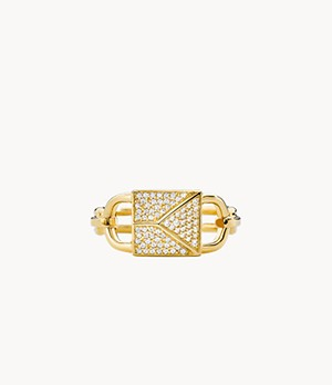 Michael Kors Mercer Link 14k Gold-Plated Sterling Silver Pave Lock Statement Ring