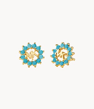 Michael Kors 14k Gold-Plated Sterling Silver Embellished Stud Earrings