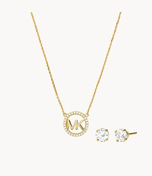 Michael Kors 14k Gold-Plated Sterling Silver Necklace Box Set