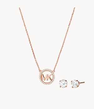 Michael Kors 14k Rose Gold-Plated Sterling Silver Necklace Box Set