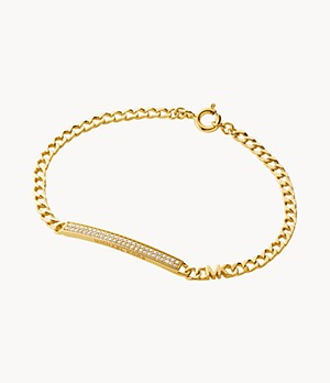 Michael Kors Statement Link 14k Gold-Plated Sterling Silver Pavé Bar Line Bracelet