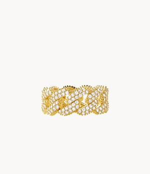 MK Statement Link 14k Gold-Plated Sterling Silver Frozen Pavé Curb Chain Ring