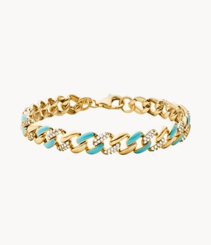 MK Statement Link 14k Gold-Plated Sterling Silver Pavé and Enamel Curb Chain Line Bracelet