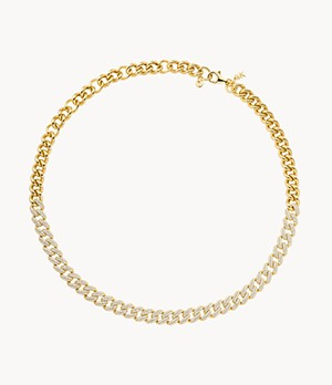 MK Statement Link 14k Gold-Plated Sterling Silver Pavé Curb Chain Necklace