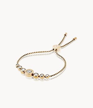 Logo Gold-Tone and Crystal Slider Bracelet