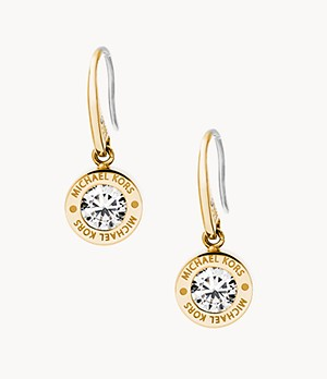 Logo Gold-Tone and Crystal Drop Earrings