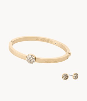 Michael Kors Women's Gold-Tone Hinged Bangle and Stud Earrings Set