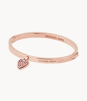 Micro Muse Rose Gold-Tone Microstud Heart Hinged Bracelet