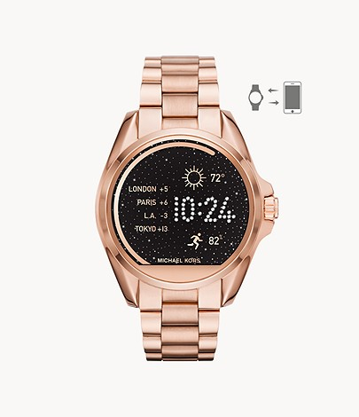 Refurbished Michael Kors Bradshaw Rose Gold Tone Smartwatch Mkt5004j Watch Station