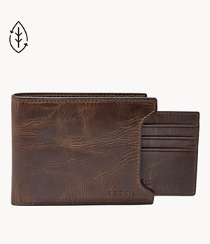 REAL LEATHER BI-FOLD MEN/'S WALLET WITH ID+PULL-UP COIN+CARD+3 NOTE SLOT+3 RFID