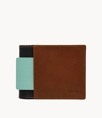 FOSSIL Ward Large Coin Pocket Bifold Navy Cognac