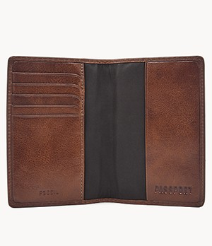 THE LEATHER WAREHOUSE Mens Leather Passport Holder//Passport Case With Card Holder