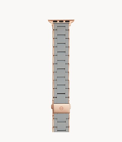 38 40mm Grey And Pink Gold Tone Silicone Wrapped Bracelet Band For Apple Watch Ms38gh767020 Michele