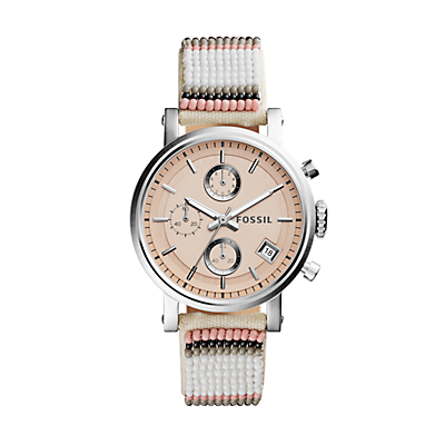 Fossil x Me to We Original Boyfriend Chronograph Multi-Colored Beaded Leather Watch