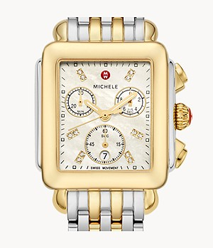Deco Two-Tone 18K Gold Diamond Dial Watch