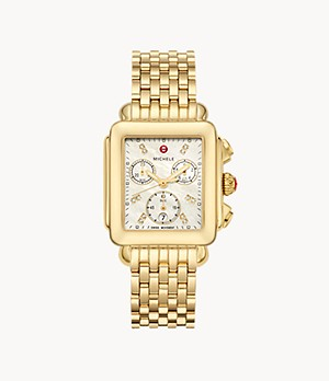 Deco 18k Gold Diamond Dial Watch