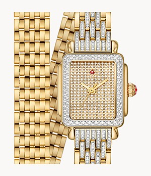 Deco Madison Mini Double-Wrap 18k Gold Pavé Diamond Watch