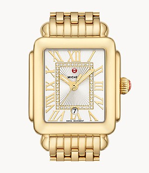 Deco Madison Mid 18K Gold Diamond Dial Watch
