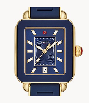 Deco Sport Gold Deep Blue Wrapped Silicone Watch