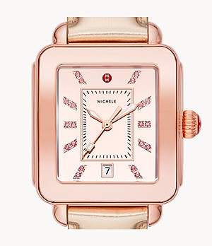 Deco Sport High Shine Pink Gold and Pink Leather Watch