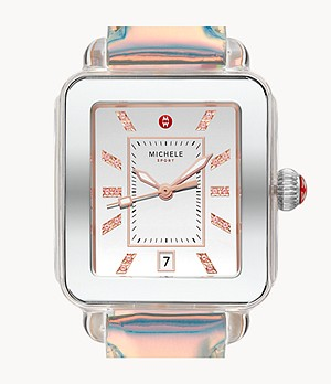 Deco Sport Stainless Iridescent Leather Topaz Dial Watch